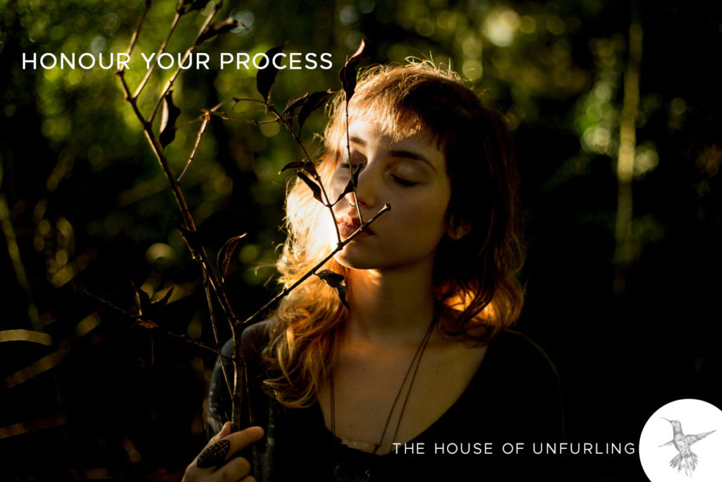 """Honour your process. Click to read the Full Article: """"The Myth Of Alignment (and what to aim for instead)"""" - Soulful Success - kathleensaelens.com"""