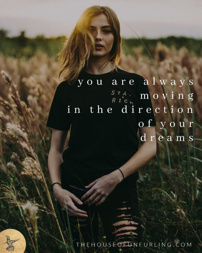 you are always moving in the direction of your dreams